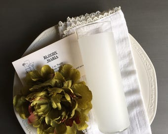 White Frosted Collins Highball Glass by Libbey w/ Drink Recipe Cards Vintage Gift Set - #3954