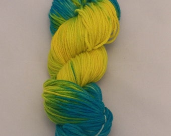 Lemon to Turquoise- Merino Sport Weight Yarn- Hand Dyed- OOAK- 0032