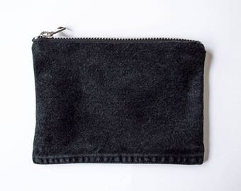 Black Denim Pouch/Silver Zipper - Hand Crafted from Salvaged Jeans