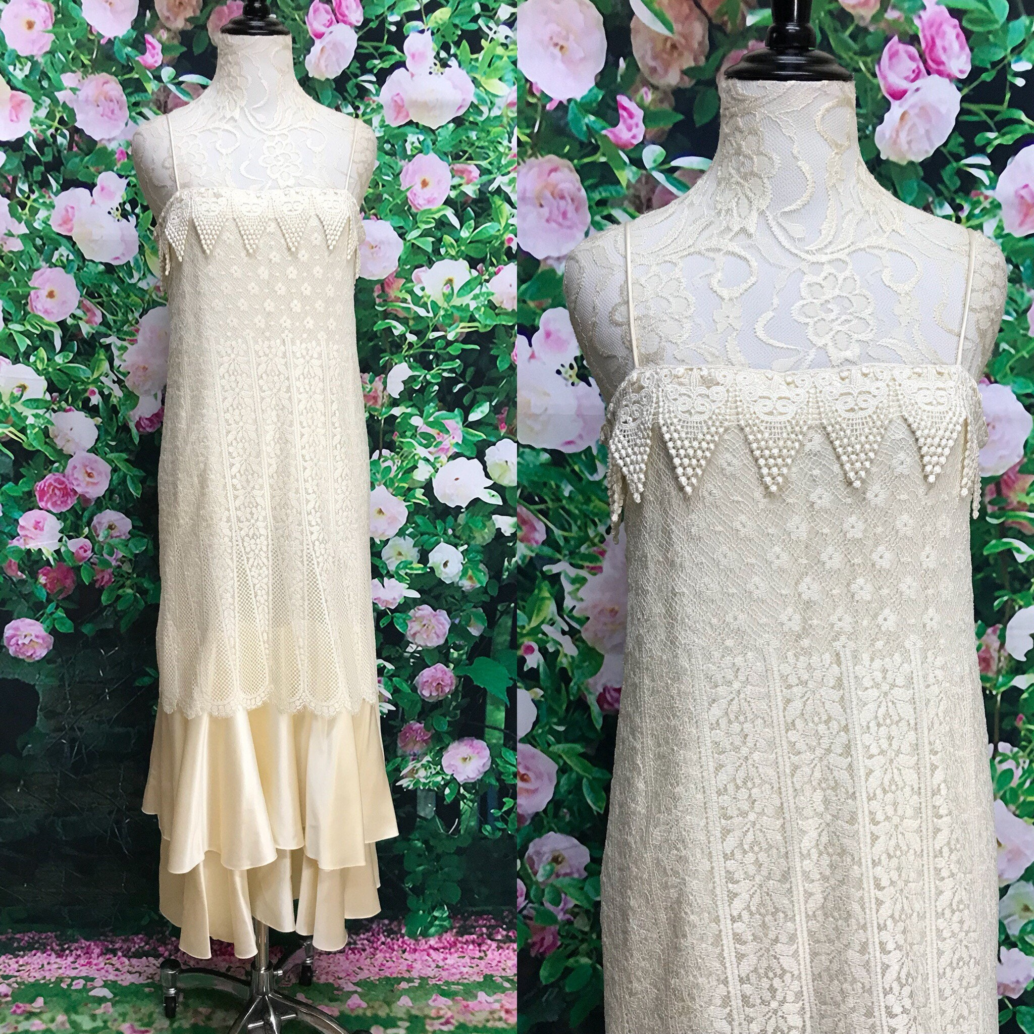 80s Bridal Silk Jessica Mcclintock Ivory Lace 20s Inspired
