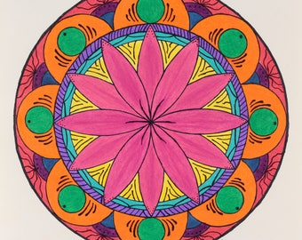 Psychedelic Flower Mandala Drawing Colorful Wall Art