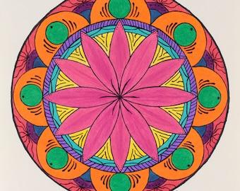 Fleur coloré Original dessin Mandala Wall Art du Mandala