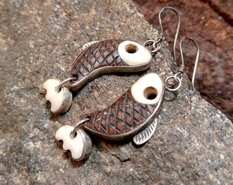 Sterling Silver Salmon Earrings