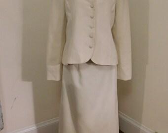 Vintage 1970's Two Piece Cream Blazer and Skirt