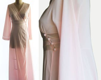 Vintage 80s Nylon/Satin Peignoir Robe US Size Medium