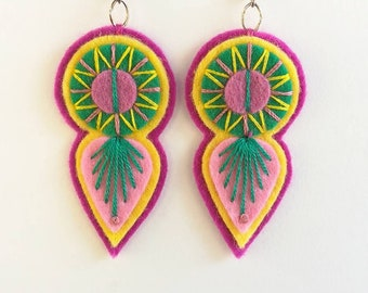 INDIE EARRINGS - Felt and hand embroidered textile earrings limited edition statement jewellery / jewelry pink yellow green summer finds