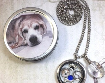 Pet Memorial and Cremation Urn Locket Pet Loss Floating Memory Locket Necklace Pet Photo Locket Necklace