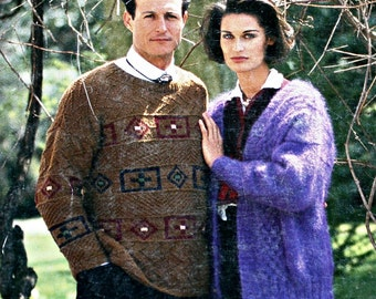 Sweater Knitting Pattern Cardigan Classic Elite Yarns 404 Norah Gaughan Kristin Nicholas Men Women Paper Original NOT a PDF