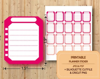 PRINTABLE Checklist Stickers, Planner Stickers Printable, Erin Condren, Checklist Full Box, Happy planner, STR002
