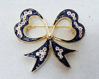 Ribbon Bow Micro Mosaic Brooch Pin, Italy, Grand Tour Souvenir Jewelry