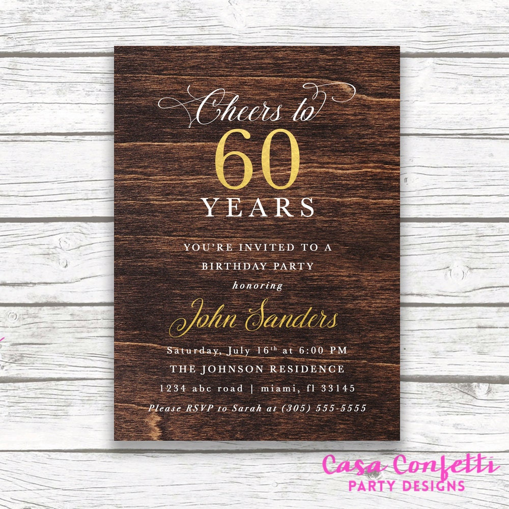 60th Birthday Dark Wood Gold Foil Male Birthday Invitation, Adult ...