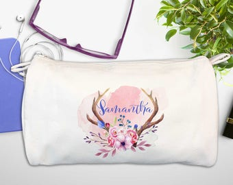 Monogram Deer Flowers Antlers Bridesmaids Gift | Personalized Cosmetic Zip Bag | WaterColor Names | Boho Wedding Makeup | Bridal Party Bag