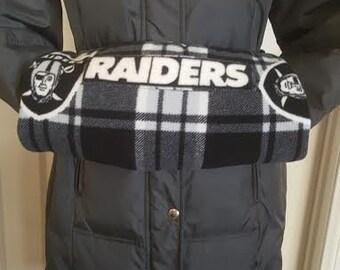 NFL Oakland Raiders Logo Waist Wearing Hand Muff, Handmade Hand Muff, Fleece Hand Muff, Hand Warmer.
