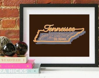Tennessee State Print Tennessee Art Tennessee Poster Tennessee Print
