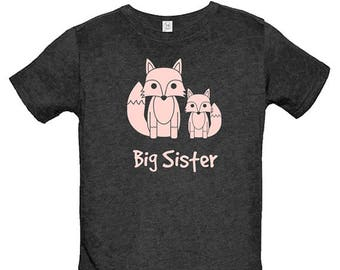 Big Sister Fox Shirt - Multiple Colors Available - Kids Fox Big Sister T shirt - Gift Friendly - PolyCotton Blended Big Sis Tee