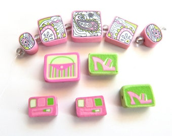 Pink and green clay beads - paisley - glamour - girly bead set