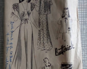 """1940s Nightgown & Jacket - 34"""" Bust - Butterick 9273 - Vintage Sewing Pattern"""