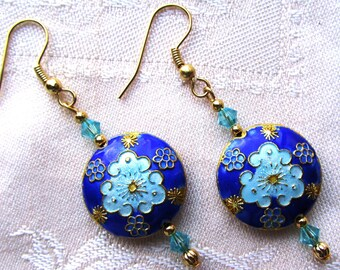 Blue 20mm Flat Coin Celestial Cloisonne Dangle Earrings with Swarovski Crystals