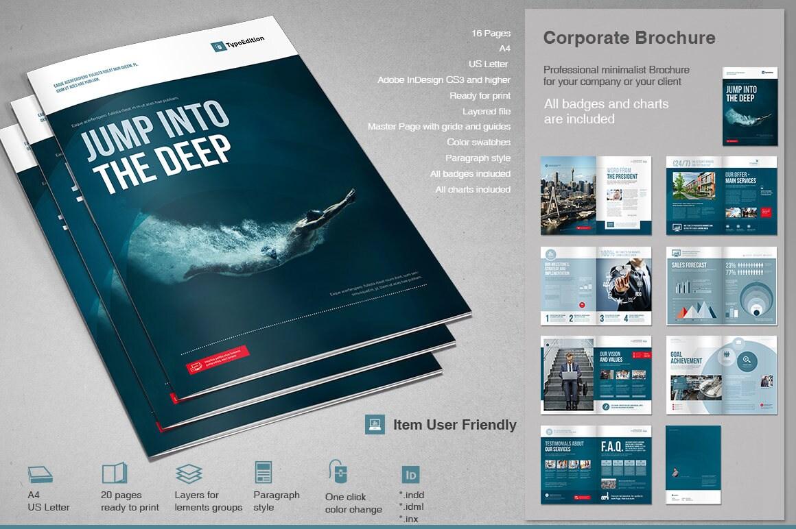 Unternehmens-Broschüre Druckvorlage InDesign-Vorlage