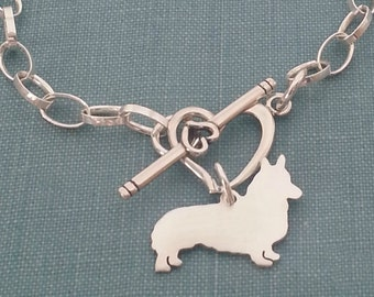 Pembroke Welsh Corgi Thick Sterling Silver Chain Necklace, Personalize Pendant, Breed Silhouette Charm, Rescue Shelter, Dog Memorial jewelry