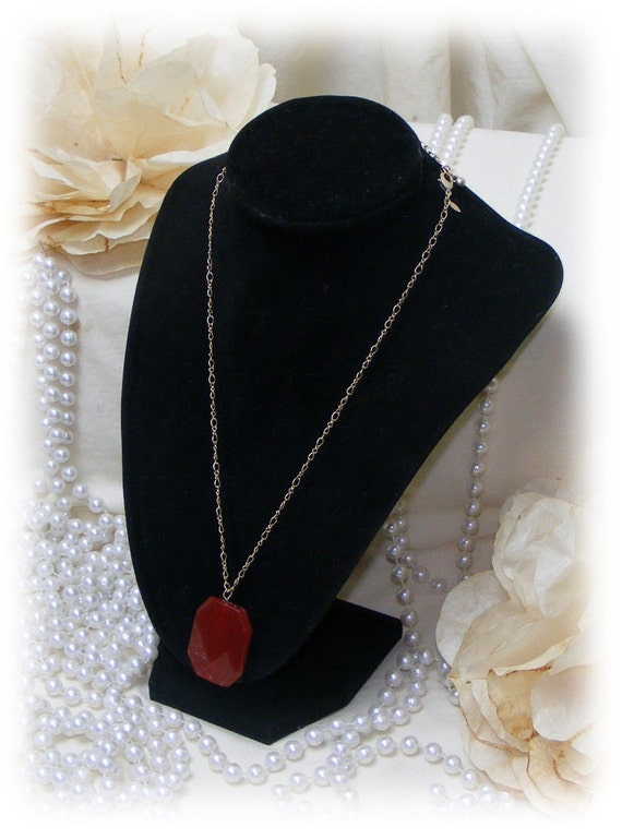 """CHAIN WITH PENDANT . .  1"""" pendant in a deep rust color"""