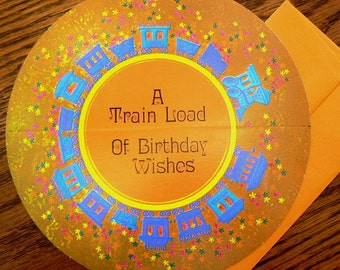 vintage cards ...  ROUND HAPPY BIRTHDAY train load of wishes Card with envelope ...