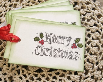 Holly & Berries Merry Christmas Tags on Creme, Set of 12|Gift Tag, Party Favor, Holiday Tag, Goodies, Treat Bag, Embellishment, Gift Idea
