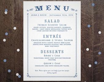 Wedding Menu Printable, Rustic Menu Card, Reception Buffet Menu, Dinner Menu Card, Printable Menu, Simple PDF Menu, Table Decoration