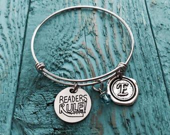 Readers Rule, Book Lover, Book Worm, Book Nerd, Teacher, Librarian, Book Club, Literature, Library, Silver Bracelet, Charm Bracelet, GIFTS
