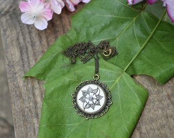 White Hibiscus Necklace Bohemian Art Floral Design Henna Mehndi Vintage Style Hand Drawn Handmade Jewelry Happiness Femininity