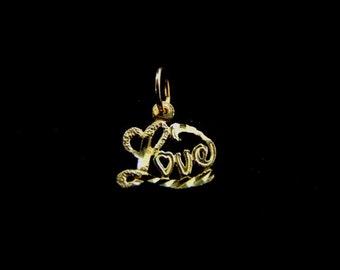 Womens Vintage Estate 14K Yellow Gold Love Pendant 0.5g E1675