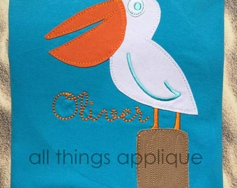 Pelican Applique BEAN Stitch (#636) - Machine Embroidery Design - 4 Sizes - INSTANT DOWNLOAD