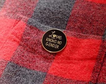 Love Knows No Gender Enamel Pin | Love is Love Pin, LGBTQ Pride Pin
