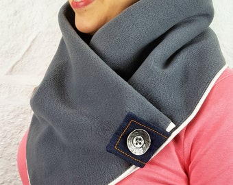 Grey fleece scarf with button  - Neck warmer - Cowl neck scarf - Snood - Spring accessories - Scarves for women - Gift for women