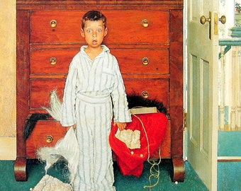 Young Boy at Christmas, The Discovery - Norman Rockwell Art - 1993 Vintage Print - 12 x 10