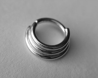 Triple Stack Septum Ring in Sterling Silver