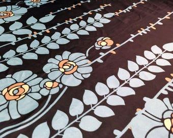5.75+ Yards Black Matte Silky Satin Charmeuse Fabric Remnant | Blue Flower Print
