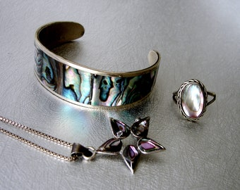 Vintage Alpaca Jewelry Mexico Mixed Set Star Flower Pendant Necklace Oval Small Ring 6+ Inch Cuff Bracelet MOP Shell Boho Chic Festival