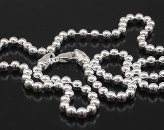 Mens Silver Chain, 4MM Sterling Silver Ball Chain Necklace Sterling Silver Ball Chain 16 18 20 22 24 30 36 inch Free Shipping Dog Tag Chain