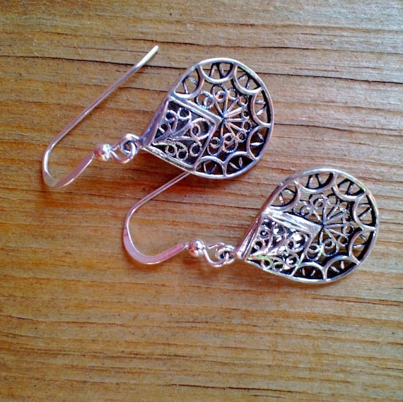 Silver Teardrop Earrings, Sterling Silver Drop, Detailed Filigree Earrings