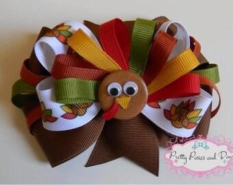 Thanksgiving Turkey Hair Bow, Turkey Hair Bow, Fall Hair Bow, Thanksgiving Hair Bow, Turkey Bow, Thankgiving Bow, Large Thanksgiving Bow