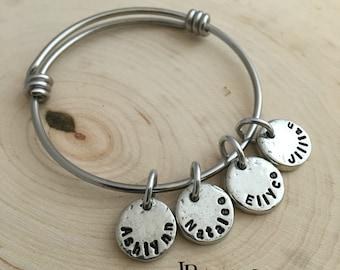 Hand Stamped Bracelet ~ Mommy Bracelet ~ Charm Bracelet ~ Kid's Names ~ JessicaBe ~ Handmade Bracelet ~ Personalized Bracelet ~ Adjustable