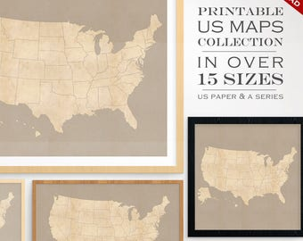 Custom Travel Maps – Printable US Travel Maps – Vintage United States Printable Maps Gallery Printable Artwork USA Map America Map Custom