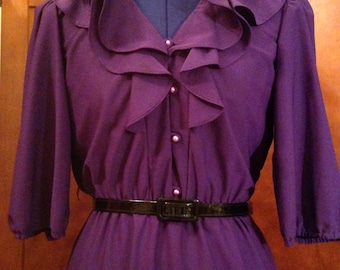 Pretty Seventies Ruffled Collar Purple Dress