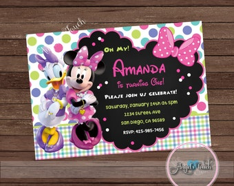 Minnie Mouse and Daisy Duck Party Invitation, Minnie and Daisy Birthday Invitation, Minnie and Daisy Birthday Party Invitation, Digital File