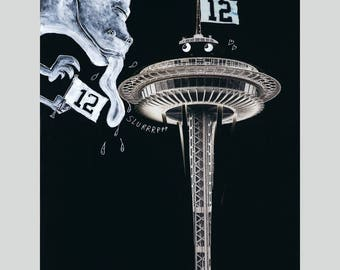 12th Fans - Seahawks, Space Needle, Godzilla Fun Print