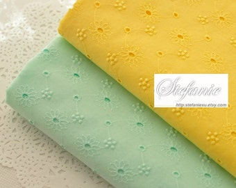 Chic Spring Color Macaron Mint Eyelet Embroidery Lace Daisy Sunflower Floral-Japanese Cotton Fabric (1/2 Yard, Macaron Mint)