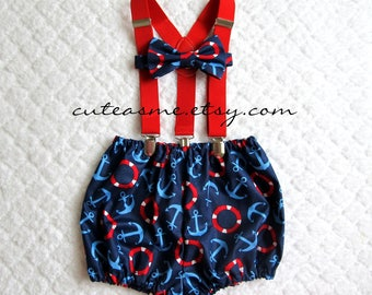 Smash Cake Outfit Boy Girl 1, 2, or 3 piece Diaper Cover Bow Tie Suspenders First Birthday 1st nautical anchor buoy sailboat Photoshoot3