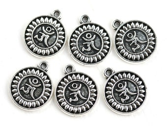 10pc Antique Silver Ohm charms, Tibetan Style Alloy Om Symbol Pendants, Lead Free, Round silver charms - 0788