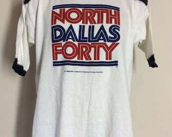 Vtg 1979 North Dallas Forty Jersey Style Ringer T-Shirt 70s Classic Nick Nolte Football Movie